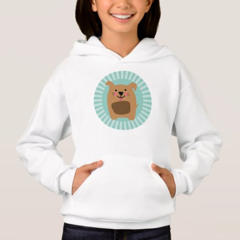 Funny Brown Dog - Cute Puppy Turquoise Hoodie