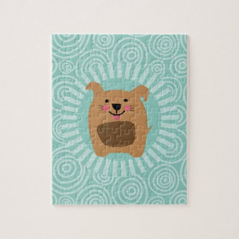 Funny Brown Dog - Cute Puppy Turquoise Jigsaw Puzzle