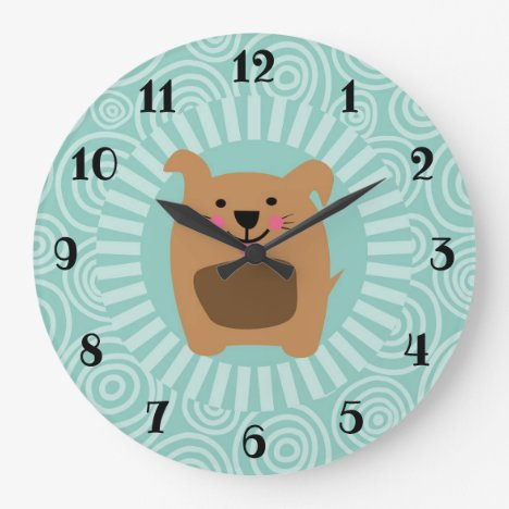Funny Brown Dog - Cute Puppy Turquoise Large Clock