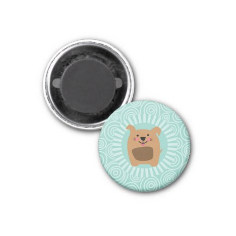 Funny Brown Dog - Cute Puppy Turquoise Magnet
