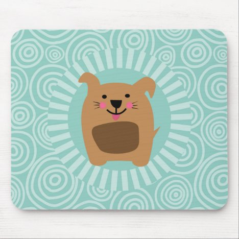 Funny Brown Dog - Cute Puppy Turquoise Mouse Pad
