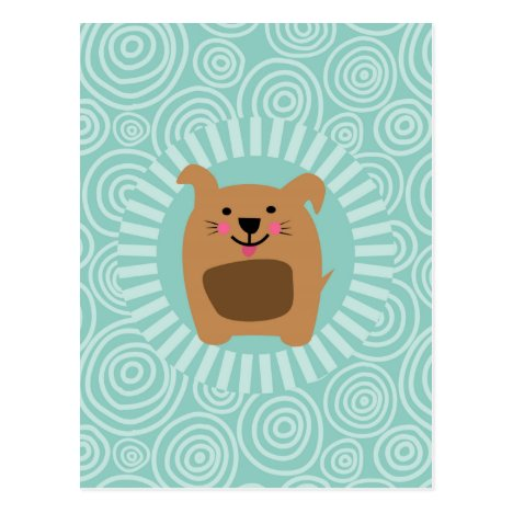 Funny Brown Dog - Cute Puppy Turquoise Postcard