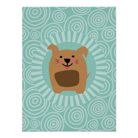 Funny Brown Dog - Cute Puppy Turquoise Poster