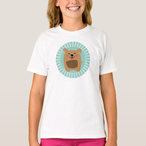 Funny Brown Dog - Cute Puppy Turquoise T-Shirt