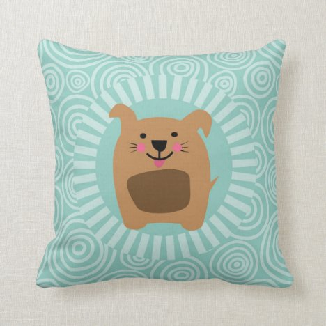Funny Brown Dog - Cute Puppy Turquoise Throw Pillow
