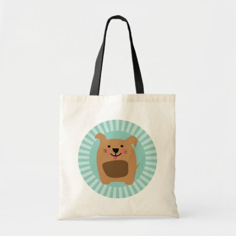 Funny Brown Dog - Cute Puppy Turquoise Tote Bag