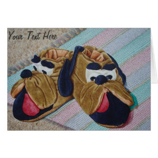 Funny brown dog slippers still life painting greeting cards