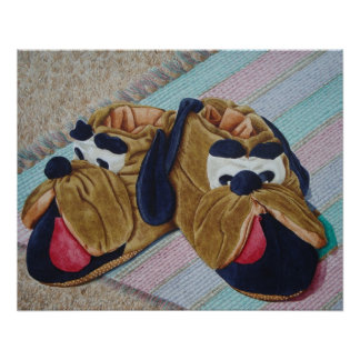 Funny brown dog slippers still life painting poster