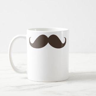 Funny brown handlebar mustache moustache trendy classic white coffee mug