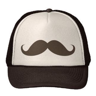 Funny brown handlebar mustache moustache trucker hat