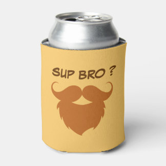 Funny Brown Mustache Can Cooler