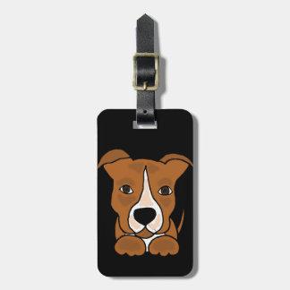 Funny Brown Pitbull Puppy Dog Bag Tag