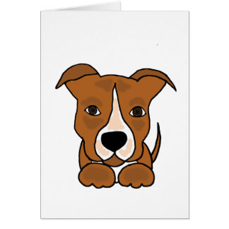 Funny Brown Pitbull Puppy Dog Card