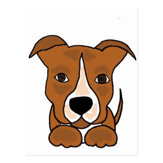 Funny Brown Pitbull Puppy Dog Postcard