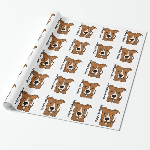 Funny Brown Pitbull Puppy Dog Wrapping Paper