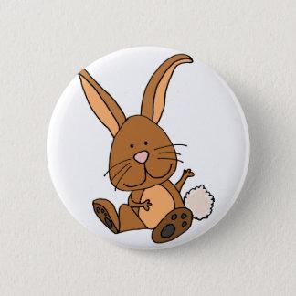 Funny Brown Rabbit Cartoon Button