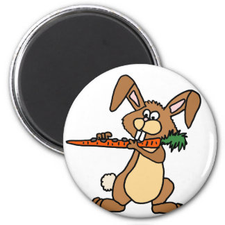 Funny Brown Rabbit Playing Flute Carrot Magnet