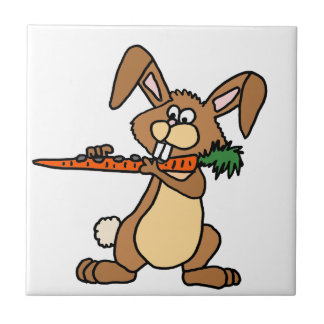 Funny Brown Rabbit Playing Flute Carrot Tile