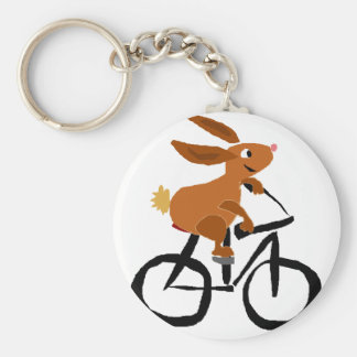 Funny Brown Rabbit Riding Bicycle Basic Round Button Keychain