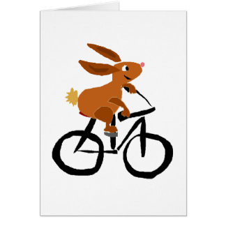 Funny Brown Rabbit Riding Bicycle Card