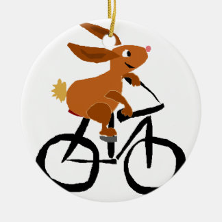 Funny Brown Rabbit Riding Bicycle Ceramic Ornament