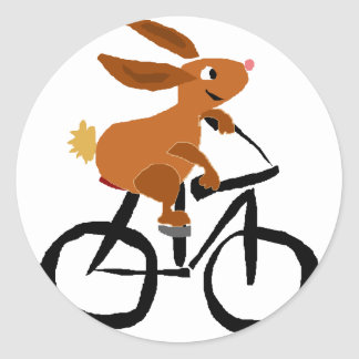Funny Brown Rabbit Riding Bicycle Classic Round Sticker