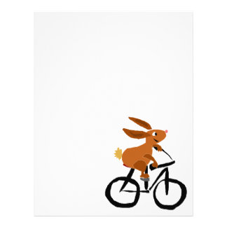 Funny Brown Rabbit Riding Bicycle Letterhead