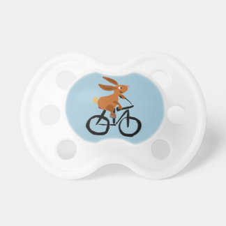 Funny Brown Rabbit Riding Bicycle Pacifier