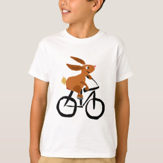 Funny Brown Rabbit Riding Bicycle T-Shirt
