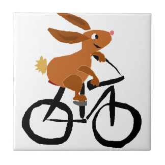 Funny Brown Rabbit Riding Bicycle Tile