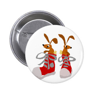 Funny Brown Rabbits in Red Sneakers Button