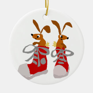 Funny Brown Rabbits in Red Sneakers Ceramic Ornament