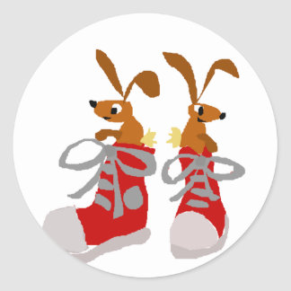 Funny Brown Rabbits in Red Sneakers Classic Round Sticker