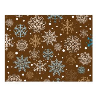 Funny Brown Snowflakes Pattern Postcard