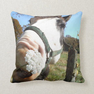 Funny Brown &White horse w/ wildflower in teeth Pillows