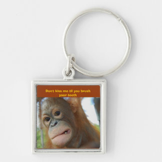 Funny Brush Your Teeth Silver-Colored Square Keychain