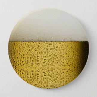Funny Bubbles Beer Glass Gold Button