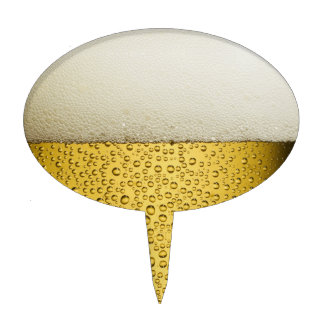 Funny Bubbles Beer Glass Gold Cake Topper