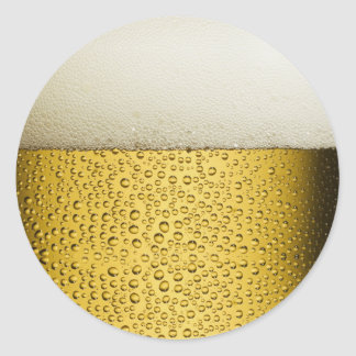 Funny Bubbles Beer Glass Gold Classic Round Sticker