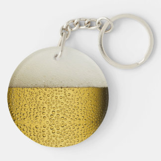Funny Bubbles Beer Glass Gold Double-Sided Round Acrylic Keychain