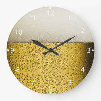 Funny Bubbles Beer Glass Gold Large Clock