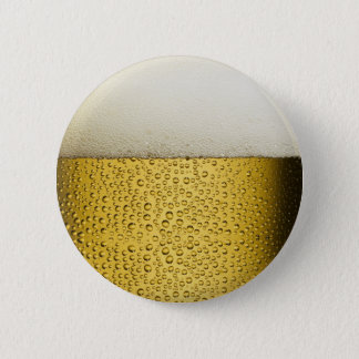 Funny Bubbles Beer Glass Gold Pinback Button