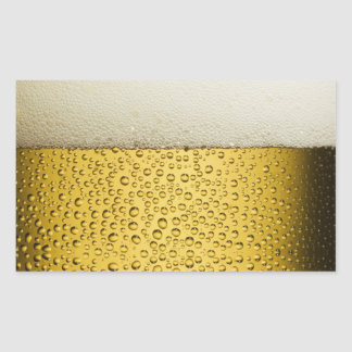 Funny Bubbles Beer Glass Gold Rectangular Sticker