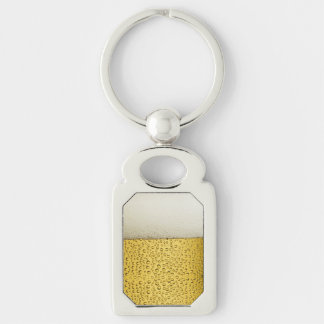 Funny Bubbles Beer Glass Gold Silver-Colored Rectangular Metal Keychain