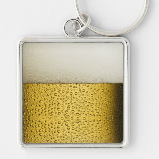 Funny Bubbles Beer Glass Gold Silver-Colored Square Keychain