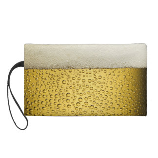 Funny Bubbles Beer Glass Gold Wristlet Purse