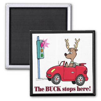 Funny Buck Stops Here T-shirts Gifts 2 Inch Square Magnet