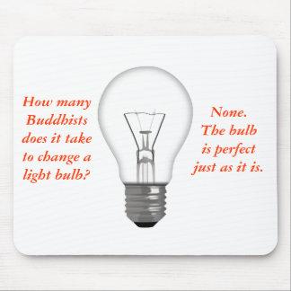 Funny Buddhist Light Bulb Mouse Mat