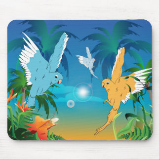 Funny budgies mouse pad