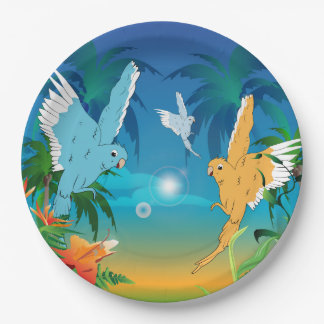 Funny budgies 9 inch paper plate